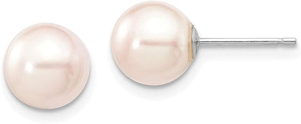 14K White Gold 7-8mm Round White Saltwater Akoya Earrings style XFW301E