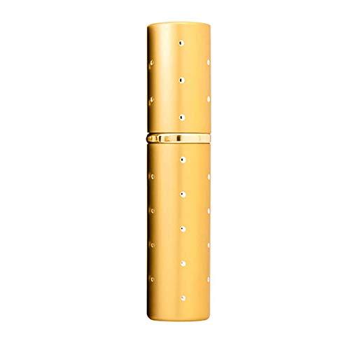 Steellwingsf - Botellas vacías portátiles para dispensar, botella de perfume portátil y extraíble con pulverizador de viaje de 5 ml, color dorado