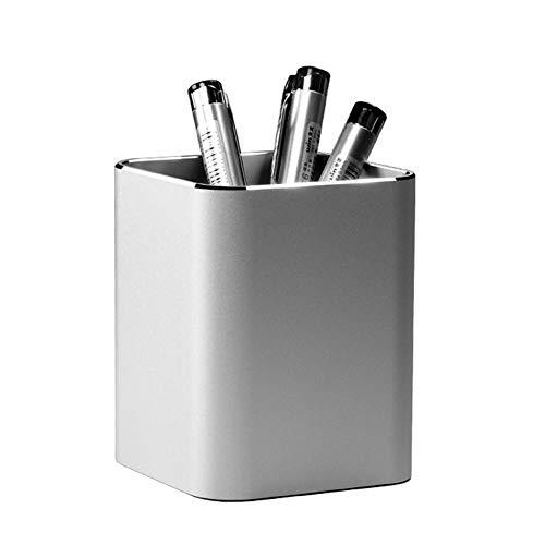 AODOOR Portalápices cuadrado de aleación de aluminio para escritorio, caja de almacenamiento, organizador de escritorio, caja para lápices, para oficina, escuela, hogar, niños (plata)