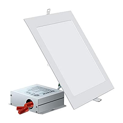 SAYHON Ultra-Thin Square Recessed Lighting, Low Profile Ceiling Light Kit Downlight for Office/Commercial Lighting/Kitchen/Hallway/Home