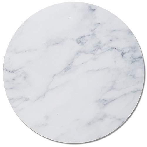 Mauspad Marmor-Look I Ø 22 cm rund I Mousepad in Standard-Größe, rutschfest I schlicht modern I Stein-Optik Granit weiß grau I dv_313