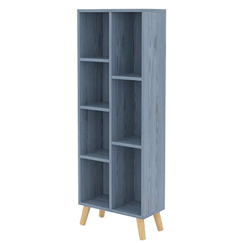 FMIKA - Estantería de madera con 7 cubos y 4 patas para libros, combinación de almacenamiento de películas, estantería de suelo para CDs, oficina, hogar,