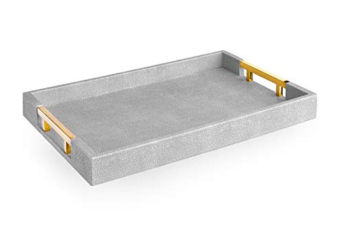 """Home Redefined Modern Elegant 18""""x12"""" Rectangle Grey Glossy Shagreen Decorative Ottoman Coffee Table Perfume Living Room Kitchen Serving Tray with Gold Polished Metal Handles for All Occasion's"""