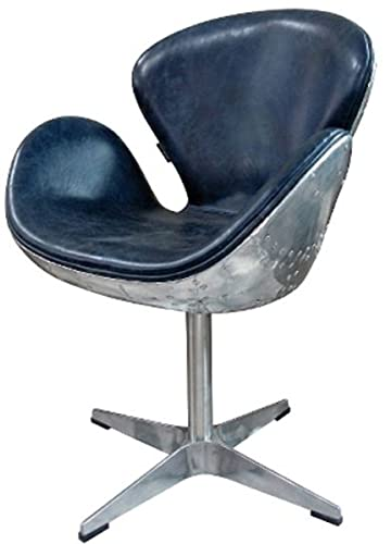 Casa Padrino Luxus Echtleder Bürostuhl Blau/Silber 72 x 63 x H. 91 cm - Designer Büromöbel