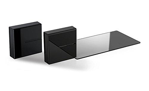 Meliconi 480521 Ghost Cubes Shelf Black Stapelbare Kabelkanal mit Regalen aus Glas schwarz
