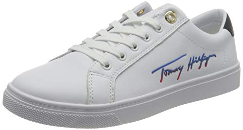 Tommy Hilfiger, TH Signature Cupsole Sneaker Donna, Bianco, 38.5 EU