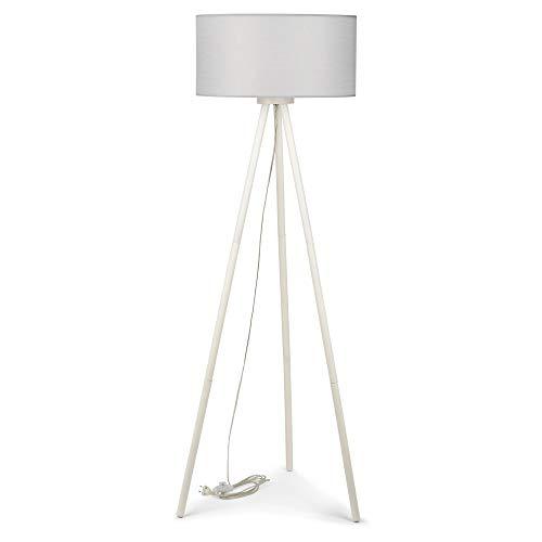 Lámpara de pie con tres patas, pantalla de tela, madera, gris, blanco, diámetro de 50 cm, E27, escandinavo, lámpara de pie desmontable