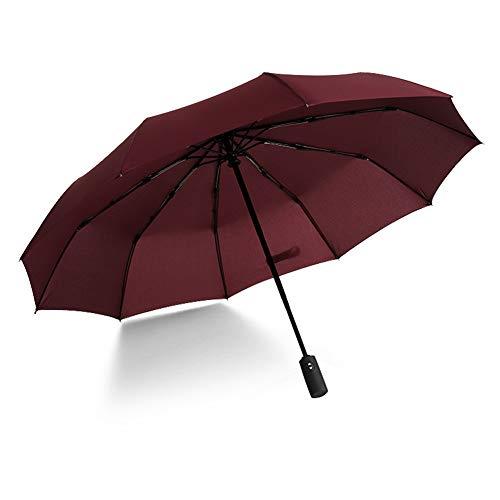 DXQDXQ Fold Automatic Umbrella Anti-Wind Thick Umbrella Three Fold Anti-UV Windproof Large Umbrella Men Women Ergonomic Handle Bag (Color : Red)