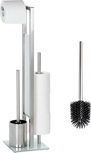 WENKO WC Garnitur Set Rivalta stehend Edelstahl mit Toilettenpapierhalter Toilettenbürste Ersatzrollenhalter und Ersatzbürste