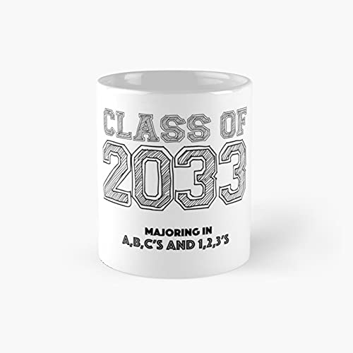 Class Of 2033 Graduation - Majoring In Abc's And 123's Classic Mug 11 Ounce For Coffee, Tea, Chocolate Or Latte.