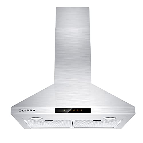 CIARRA CAS75206 Wall Mounted Range Hood 30 inch, Stainless Steel Stove Hood with 3 Speed Fan, Chimney-Style Hood Vent for Kitchen with Cast Aluminum Motor Housing, Timer & Clean & Fresh Function