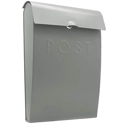 Maison & White Buzón de pared | Buzón exterior de acero galvanizado | Buzón de seguridad exterior con llave (Gris)