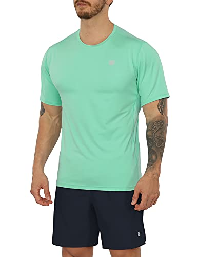ODODOS Men's Quick Dry Athletic T-Shirts UPF 50+ Sun Protection SPF Crew Neck Gym Workout Tee Shirts Short Sleeve Tops, Mint Green, Large
