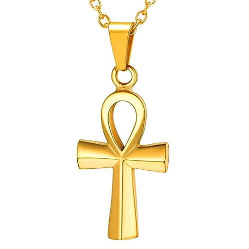 U7 Collar Cruz egipcia de Vida eterna para Familia Colgante pequeño Cruz Ankh de Acero Inoxidable bañado en Oro 18k joyerías culturistas