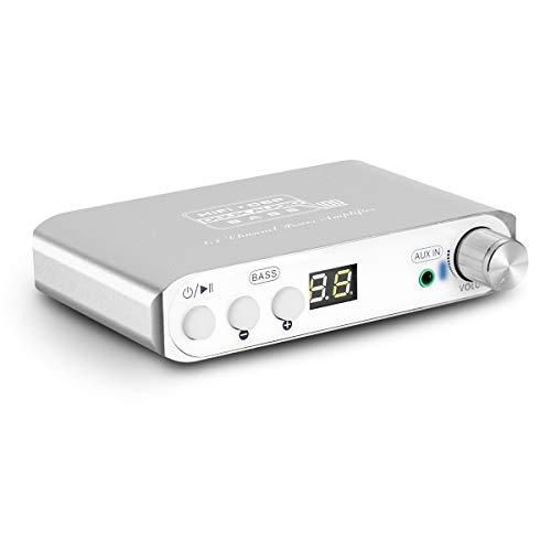 Q100 2.1 de canal Bluetooth Amplificador, amplificador de audio estéreo de clase D, amplificador de subwoofer digital, 80 W + 40 W x 2, Dual DSP (Silver)