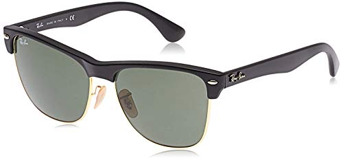 Ray-Ban RB4175 Clubmaster Square Oversized Sunglasses, Black Demishiny & Gold/Green, 57 mm