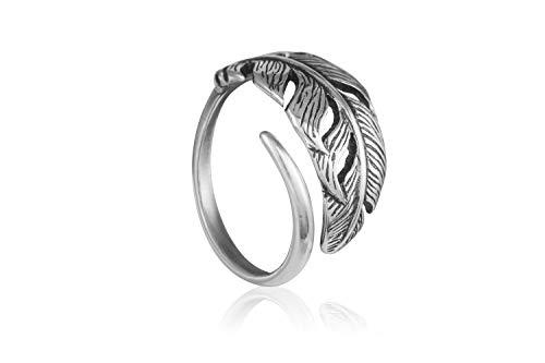 Anillo de plumas de plata para mujer