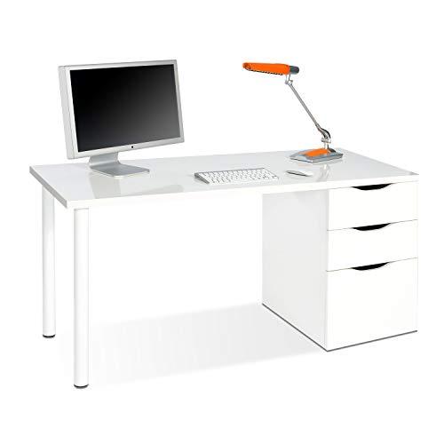 Habitdesign 004604A - Mesa ordenador reversible dos cajones y una puerta, mesa despacho, escritorio Athena acabado en color blanco artik, 138 x 74 x 60 cm de fondo