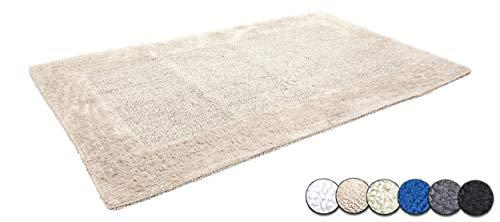 Casalanas | Model Fontechiari | dubbelzijdige badmat | Zware badmat | Badmat van 100% natuurlijk katoen | Badmat 120x70cm | Badkamertapijt in de kleur beige