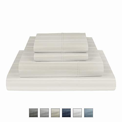 "Fisher West New Year Manhattan 1000 TC Wrinkle Resistant Cotton Rich KING 6 pc set: TightFit Grip fits upto 17"" Deep Pocket Mattress - Sateen Weave - Soft - Cotton Rich - Hotel Luxury -Ivory Sheet Set"