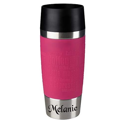 EMSA Thermobecher mit kostenloser Gravur (pink) - Original EMSA Edelstahl-Trinkbecher (360 ml) - mit Name graviert | Kaffeebecher To-Go-Becher Travel Mug | 100% Auslaufsicher & Spülmaschinenfest