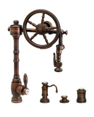 Buy Cheap Waterstone 5100-4-DAMB The Wheel Pull Down Kitchen Faucet 4pc Suite Distressed American Br...