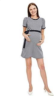 DeFacto Striped Round-Neck Short-Sleeve Waist-Tie Mini Maternity Dress for Women
