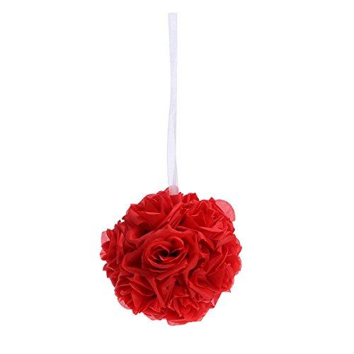 WINOMO Romantische Rose Blume Ball Künstliche DIY Hängende Rose Ball für Hochzeit Dekoration (rot)