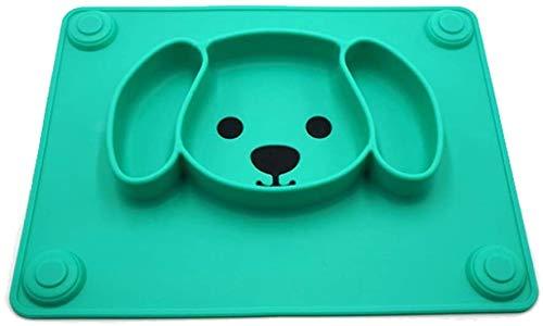 WOHAO Fête des Enfants de la Vaisselle Silicone Enfants Art de la Table, Ventouse Ménage Goutte Plaque épreuve Grille Arts de la Table Cartoon Bowl (Couleur: Vert) (Color : Green)
