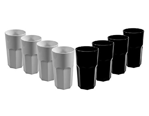 Mixed Set of Black and White RB Unbreakable Reusable Polycarbonate Plastic Octagon shaped 12 OZ Tumblers. (330ml/ 12oz to rim Height 13cm, Max Diameter 7.2cm)   Realistic Alternative to Glass (8)