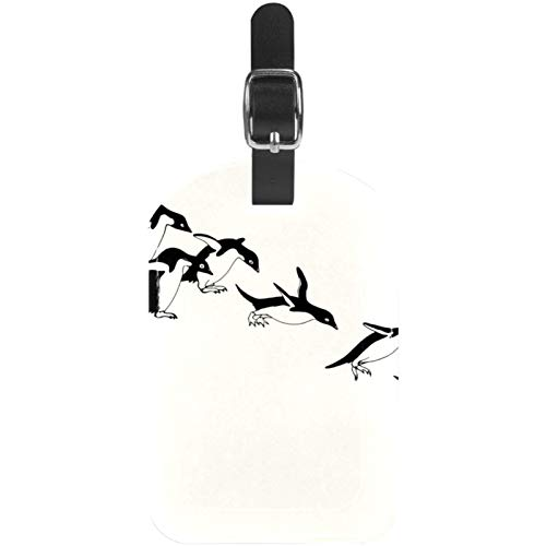 Luggage Tags Cute Penguins Jumping Downward Leather Travel Suitcase Labels 1 Packs