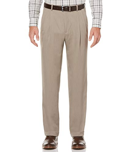Perry Ellis Men's Classic Fit Elastic Waist Double Pleated Cuffed covid 19 (Taupe Suit Separates coronavirus)