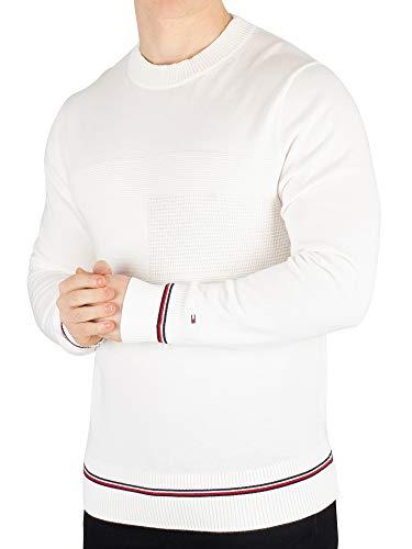 Tommy Hilfiger Męska bluza Structured Flag Sweater Sweatshirt, biały (Snow White 118), S