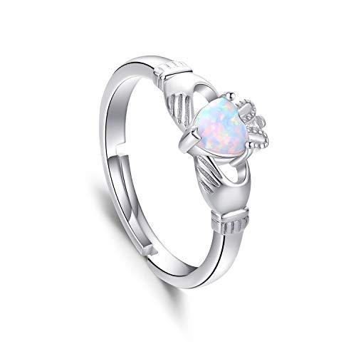 Anillo irlandés de plata de ley 925 con corazón de Claddagh, anillo de promesa ajustable, anillo abierto creado con ópalo blanco irlandés Claddagh anillos para mujer