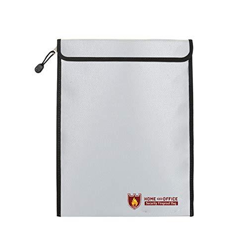 TsunNee Bolsa de documentos ignífuga, resistente al agua, bolsa de seguridad Lipo bolsa de seguridad contra incendios, 38 x 28 cm, color plateado