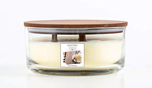 Forest Wick - Large Round Scented Soy Candle with Three Crackling Wicks | Up to 40 Hours Burn Time - In glass Jar with Lid. Beautiful gift candle set or candle for your home. (Warm Vanilla Sugar)