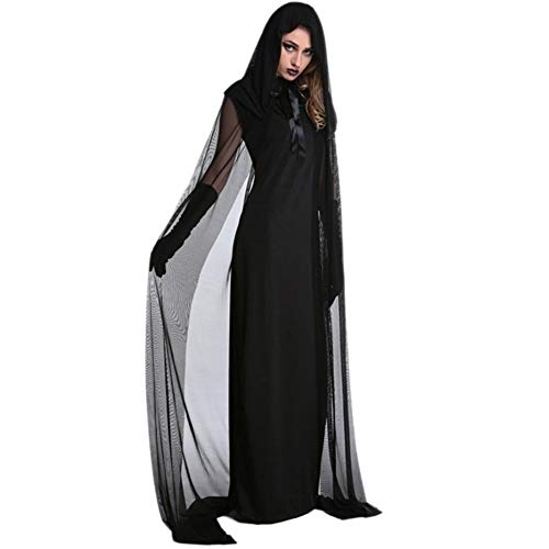 GWM Decoraciones de Halloween, Halloween, del Partido 1 Set Mujer Bruja de Halloween más tamaño Traje Largo Vestido de otoño Invierno Vestidos Negros (Size : XL)