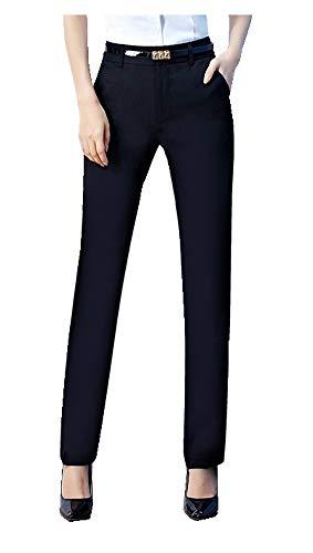 CYSTYLE Neue Damen Gerade Hose Kellnerhose Anzug Hose Anzughose Service Classic Style mit Elastische an Taile (Schwarz 2, XL)