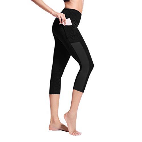 Allence Sport Leggings Damen 3/4 mit Hüfttasche für Handy   Laufhose Capri Dreiviertel 3 4   Fitness Sport Tights Schwarz Muster Yoga Hose Sporthose Jogging Bunt Farbig High Waist