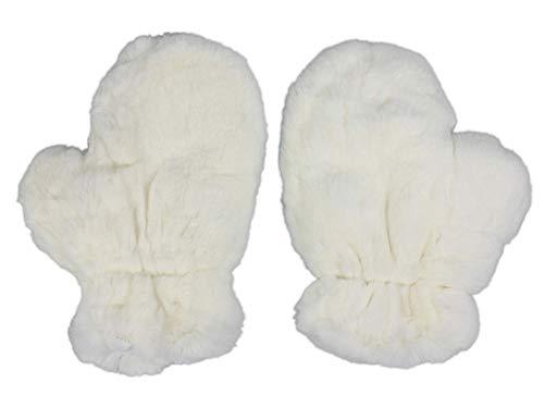 Pair (2) of Rex Rabbit Fur Massage Mitts: White (696-9RXCN-S) K9
