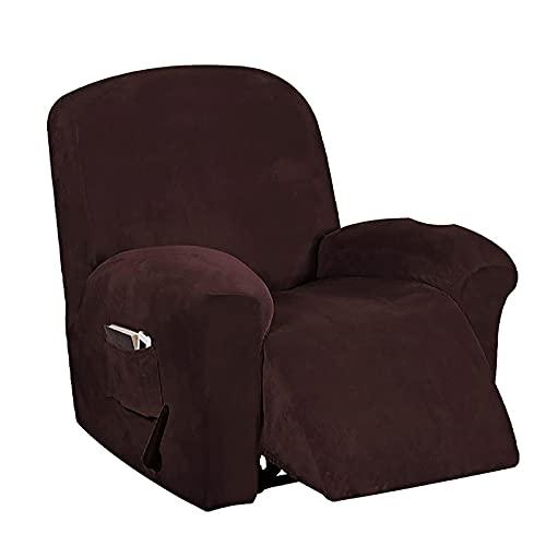 LXVY Funda de sillón Terciopelo-óptico, Capuchas elásticas para sillón, Elástico Funda para sillón reclinable,Marrón