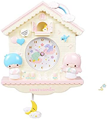 GlobalEdge Little Twin Stars Wall Clock with Pendulum for Kids Room