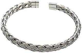 Atiq Stainless Steel Bracelet for Men, 17cm - WE-005-Silver