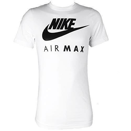 Nike Air Max - Camiseta de manga corta y cuello redondo, para hombre S-2X L blanco blanco Large