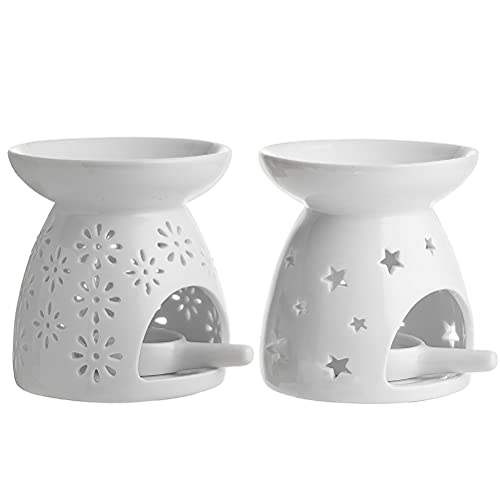 Yangtek - Bruciatori profumati in ceramica, motivo stelle e fiori, per aromaterapia, 2 pezzi bruciatori oli essenziali con portacandela per decorazione casa meditazione (Bruciatori B&C)