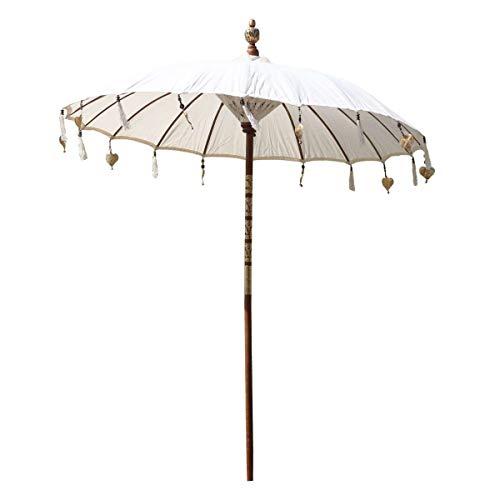 Oriental Galerie Bali Sonnenschirm Balinesischer Schirm Garten Baumwolle Sonnenschutz Handarbeit Retro Vintage Dekoschirm 2-teilig ca.180 cm, Farbe:Creme Weiß