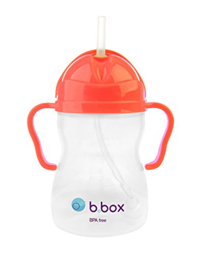 b.box Sippy Cup with Innovative Weighted Straw | Easy-Grip Handles | Color: Neon Watermelon | 8 oz. | BPA-Free | Phthalates & PVC Free | Dishwasher Safe
