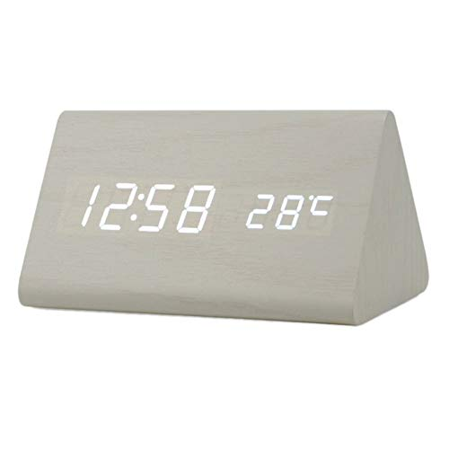 Mini Small Wooden Voice Control Digital LED Desk Alarm Clock with Thermometer hy