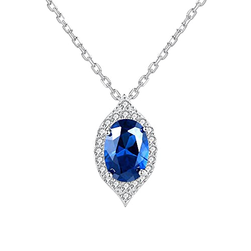 ZHUDJ Pendientes de Gota de Agua de Zafiro para Mujeres niñas joyería de Piedras Preciosas Azules Finas de Plata esterlina
