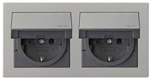 Gira Edelstahl Komplett-Set Klappdose – 2 x KlappSteckdose 0454600 inkl. 2fach Rahmen und Dichtungsset IP44 erhöhter Berührungsschutz